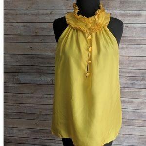 J.Crew Yellow Silk Ruffle Collar Sleeveless Top
